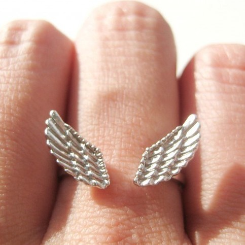 Feather Angel Wings Adjustable Ring in Silver with Textured Detail
