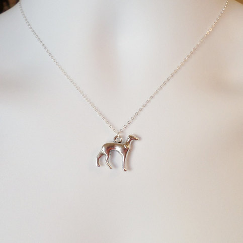 Silver Greyhound Or Whippet Necklace Sterling Silver Dog