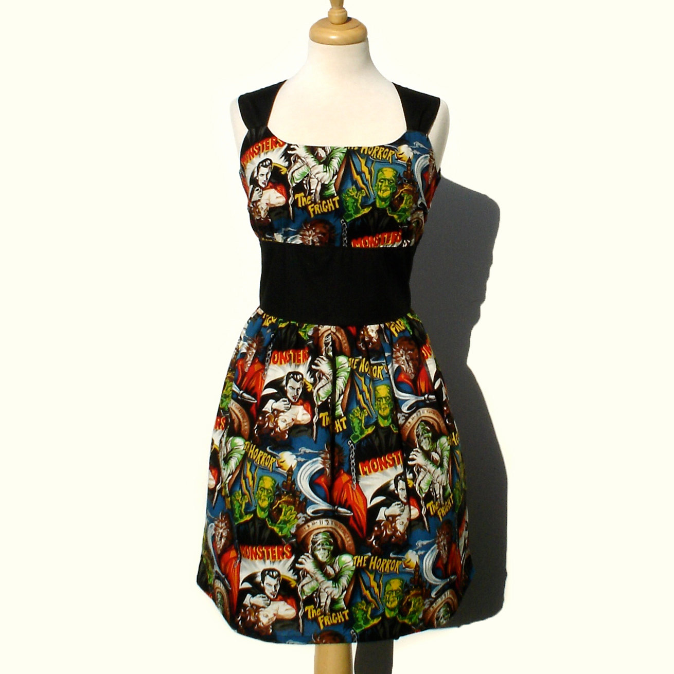 98e5c3516cb Rockabilly Pinup Dress Classic Pinup Dress / Monsters Vintage Inspired  1950s Horror Movie Pinup Hollywood Monster Dress
