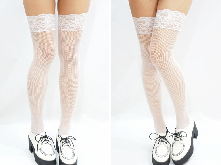 6546cd3884e238 Sexy Thigh Lace Fishnet Stockings - White · Sandysshop · Online ...