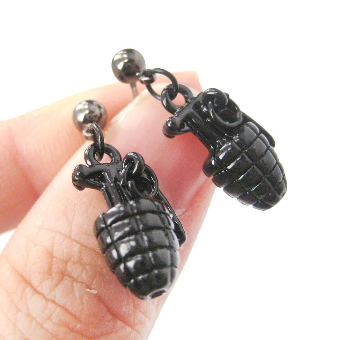 Glitter Bomb Earrings with Sterling Silver Posts Da Bomb Acrylic Earrings Black Explosive Statement Earrings