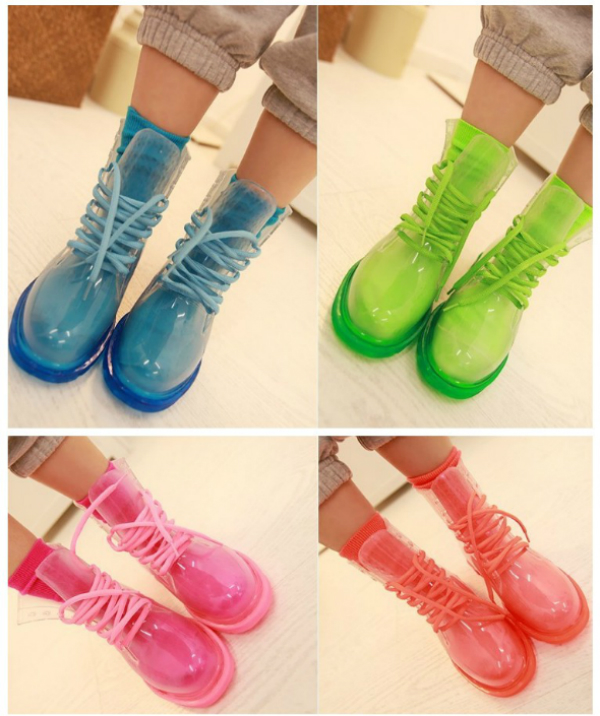 Transparent Colorful Lace-up Boots/Waterproof boots/Rain boots on ...