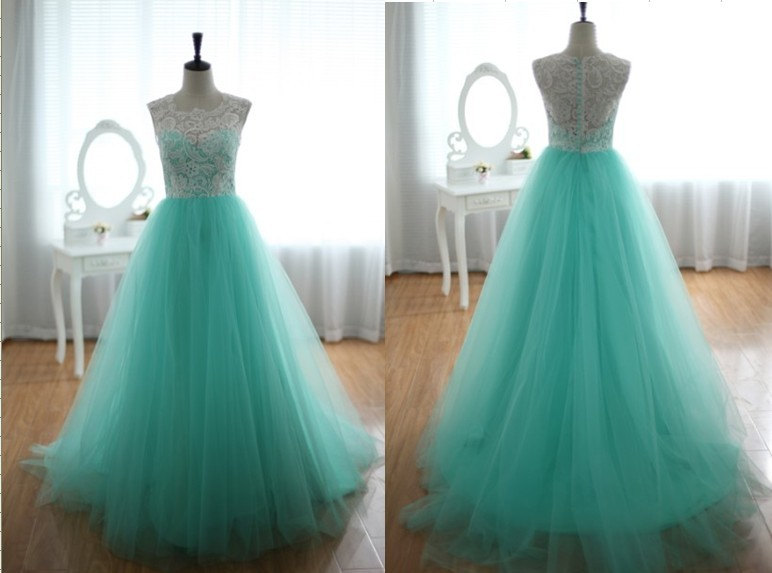 Lace Tulle Wedding Dress Prom Ball Gown Blue Tulle Dress Turquoise ...