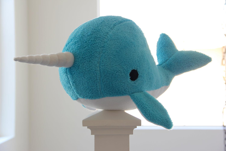 Rainingsugar Large Narwhal Plush Toy Ethaniel Blue Soft Fluffy