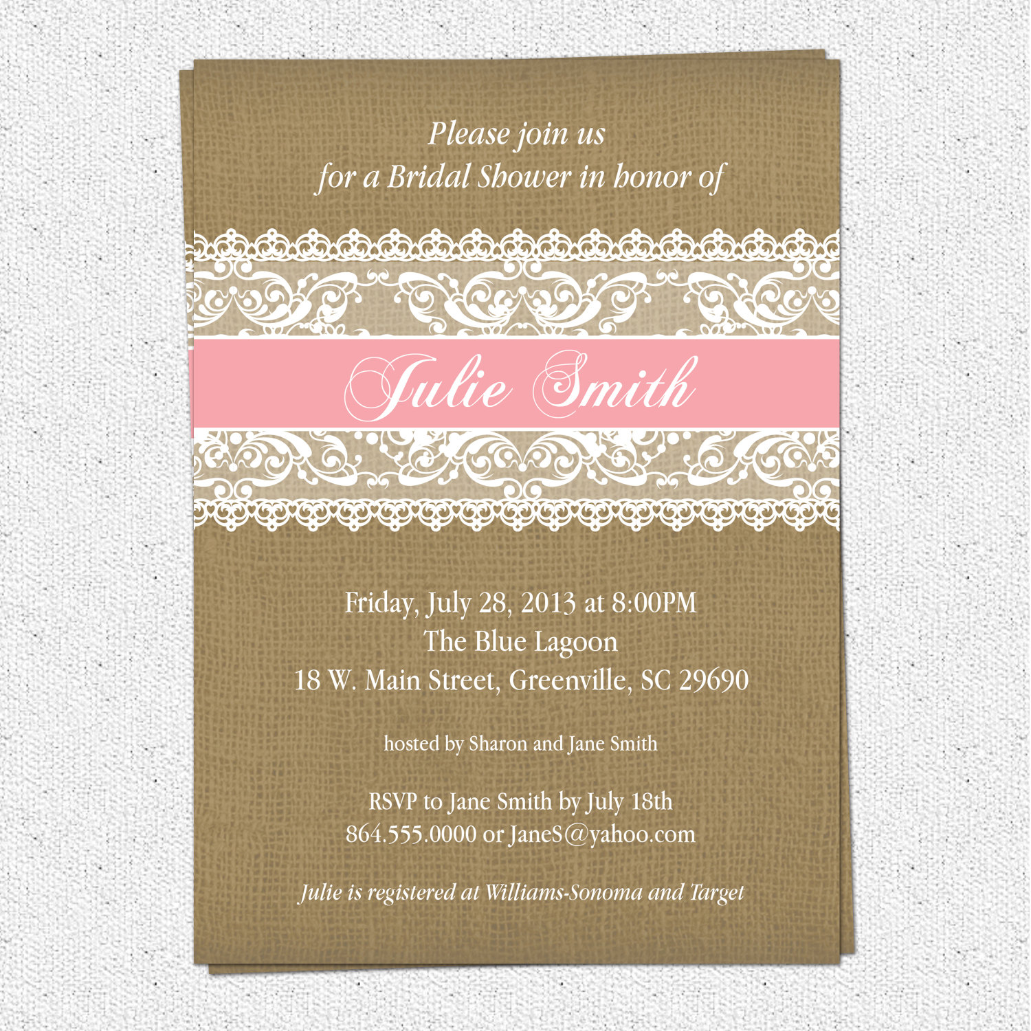Burlap And Lace Bridal Shower Invitations Rustic Pick Your Accent