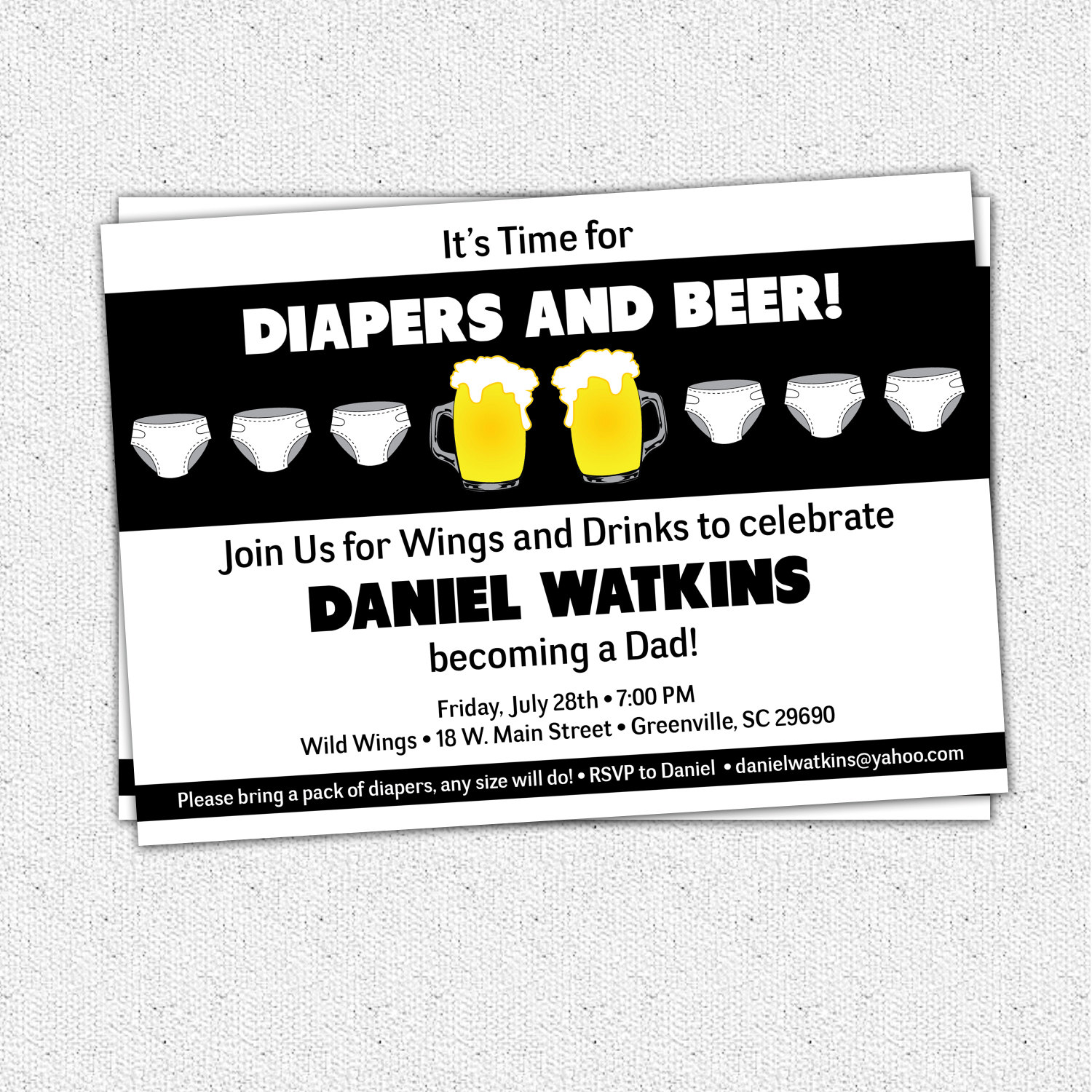 Chuggies, Beer and Diaper Party Invitations, Babies, for Men, Dads ...