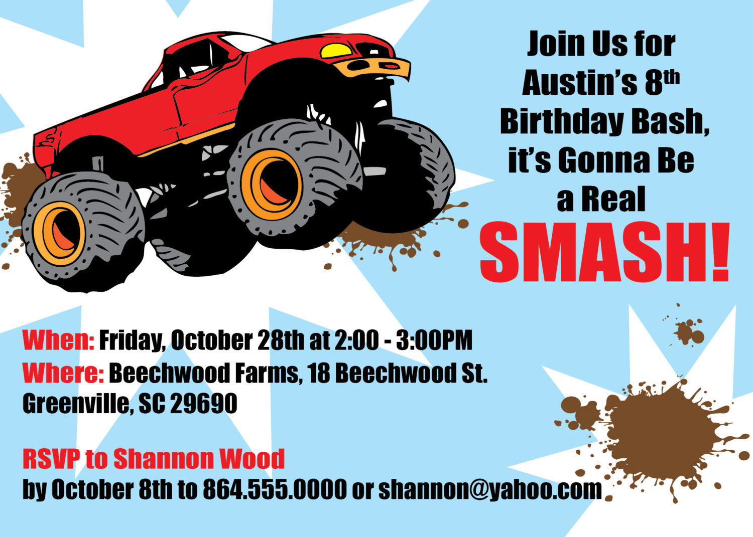 monster truck invitations boy childs birthday party set of 10
