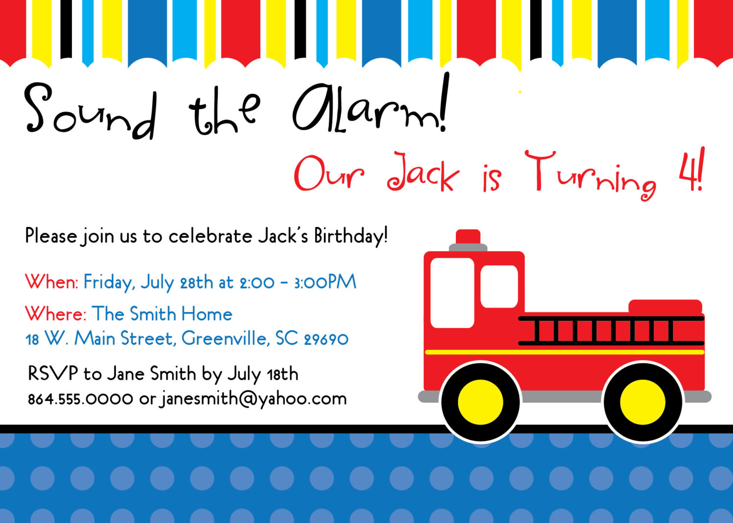 Firetruck Fireman Birthday Invitations Child Kid Party Set Of 10