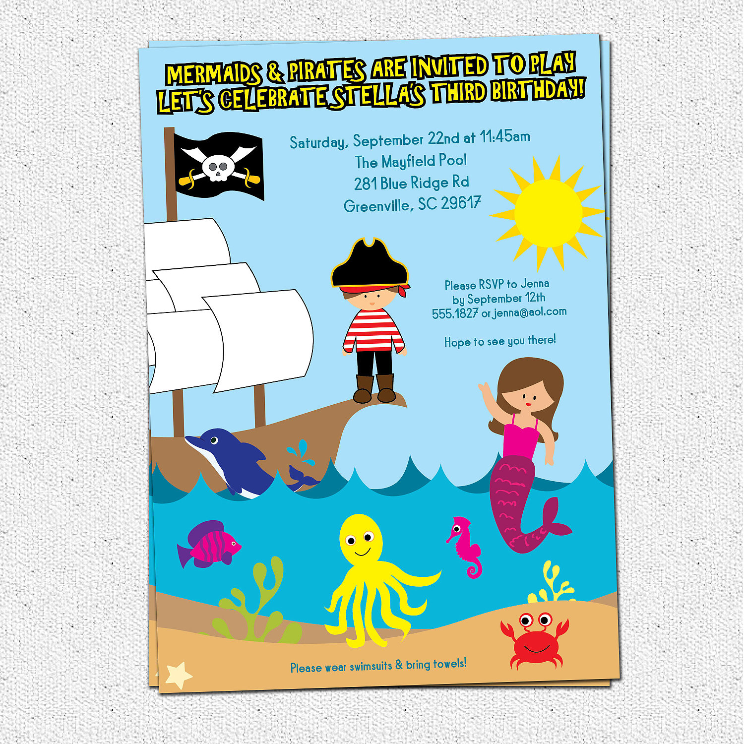 Pirate And Mermaid Birthday Party Invitation Under The Sea Dolphin Ship Printable