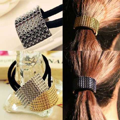 Punk Gothic Mental Semicircle Hair Cuff Wrap Ponytail Rope