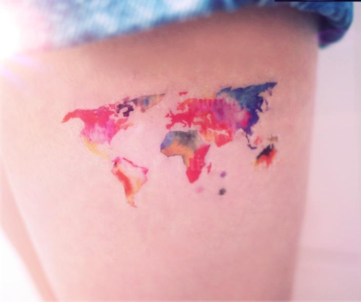 Watercolor World Map tattoo - InknArt Temporary Tattoo - wrist quote tattoo  body sticker fake tattoo wedding tattoo small tattoo from InknArt ...
