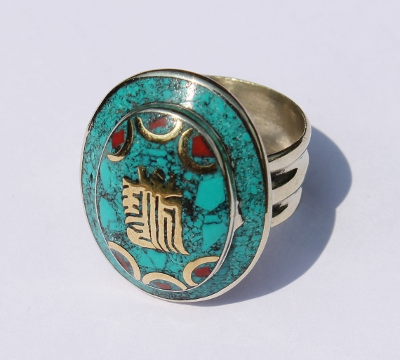 b413c15aa Tibetan Kalachakra Mantra Turquoise & Coral Ring on Storenvy