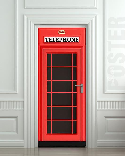 Door Sticker Telephone Box London Red Mural Decole Film