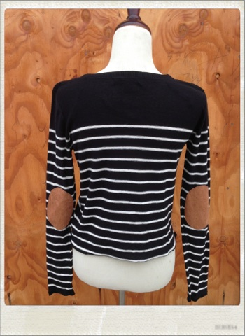 Striped Sweater with Elbow Patches (Black OR Navy Blue) on Storenvy