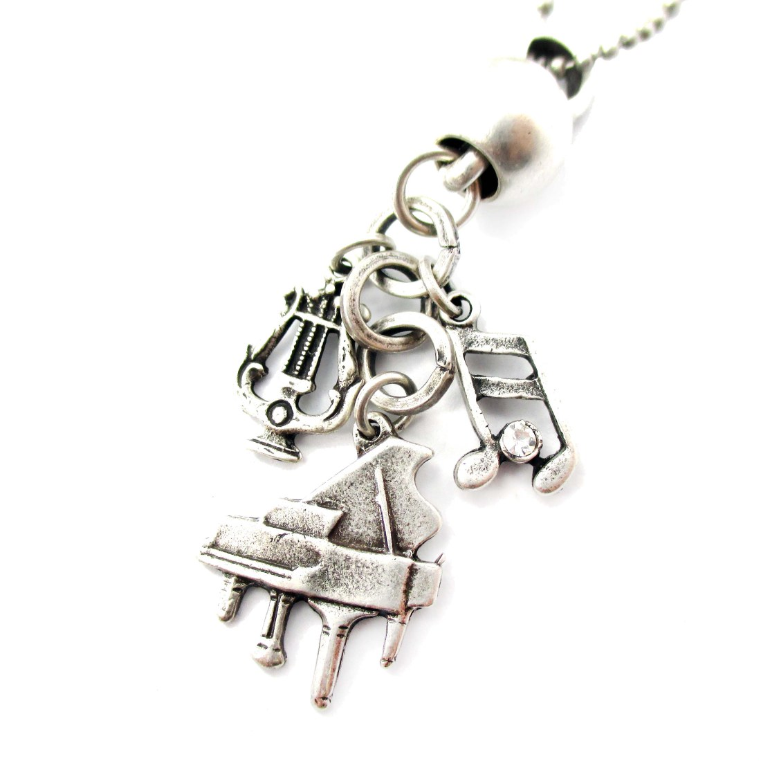 Music Themed Piano Harp Musical Notes Charm Necklace In