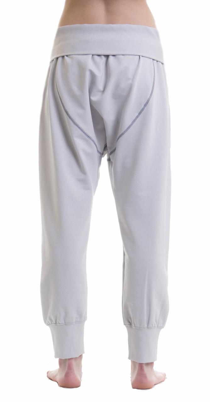 Dropped Crotch Yoga Cotton Pants -Gray Harem Yoga Pants - Loose White Cotton  Pants ... 98dafab76a9