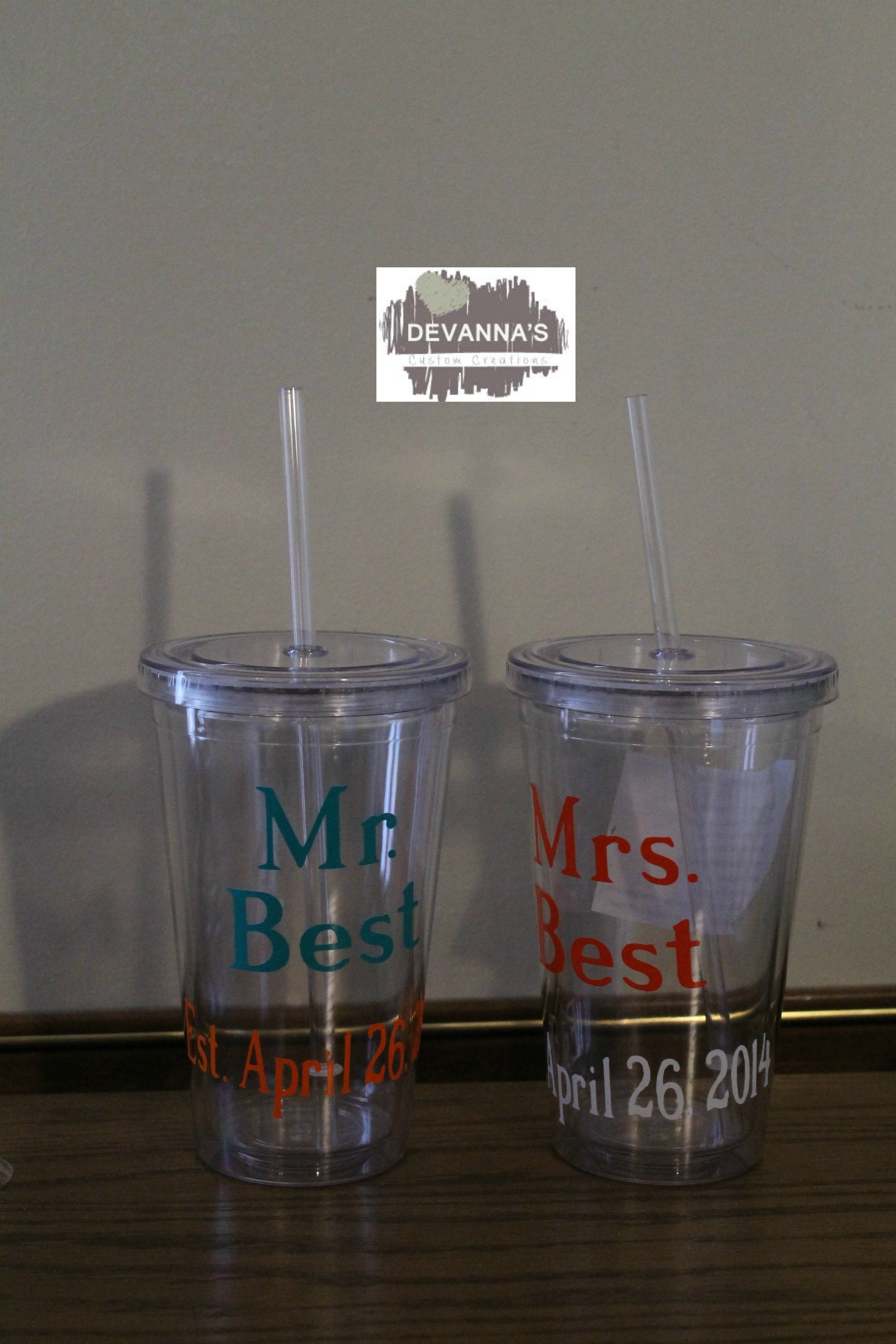 d24fe0e5f71 16oz Personalized Tumbler with Lid and Straw - Est date and Names ...