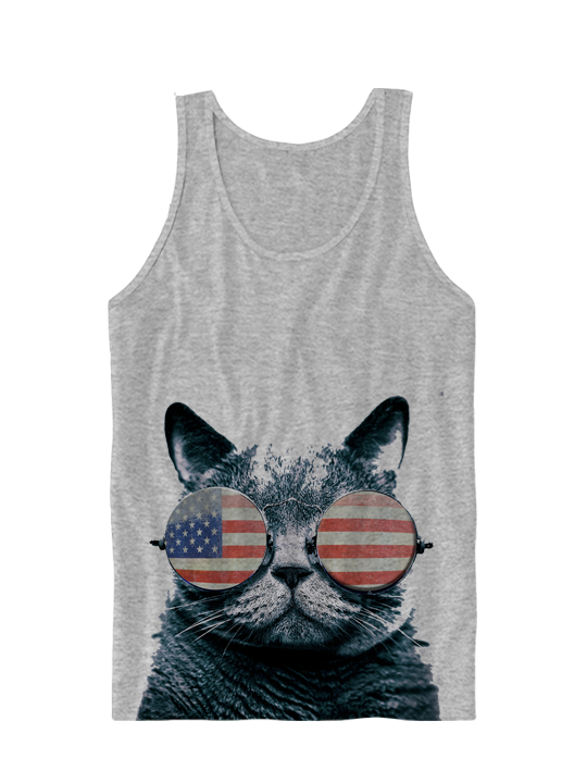 bb99fb79cca87e USA KITTEN TANK TOP AMERICAN FLAG CAT WEARING GLASSES I LOVE KITTENS GREAT  GIFTS JULY 4TH ...