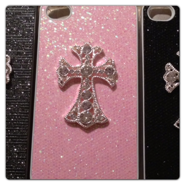new product 6a221 c58df Custom Pink Glitter Case w/ Rhinestone Cross for iPhone 5S/5/4S/4 Samsung  S4/S3 from Princess Armor
