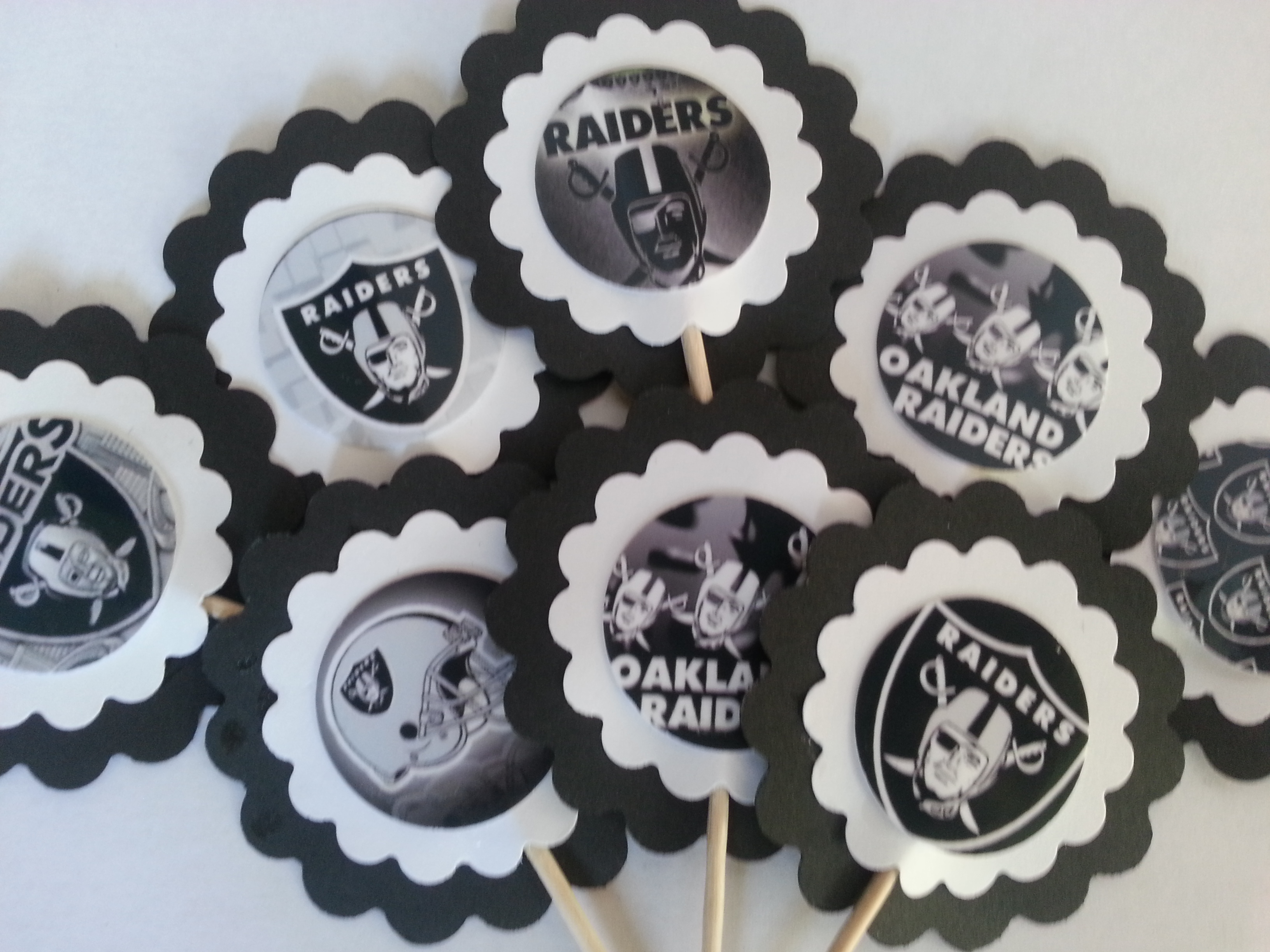 Pleasing Party Supplies 2 Nfl Oakland Raiders Cupcake Toppers Pick Your Funny Birthday Cards Online Inifofree Goldxyz