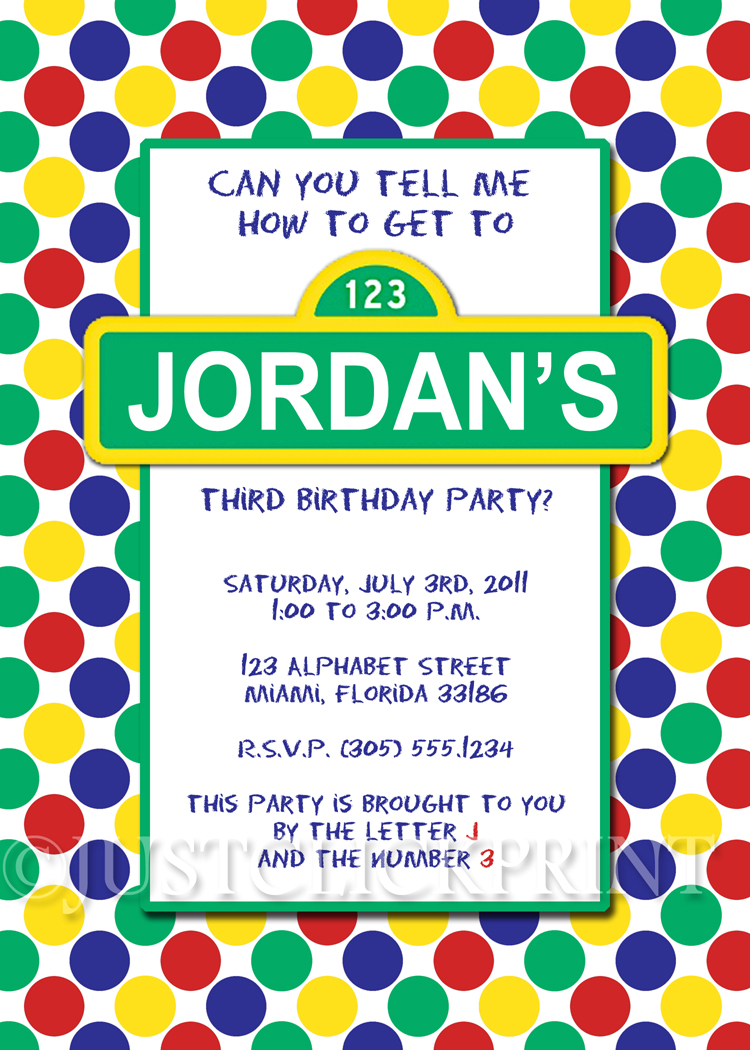 Sesame Street Inspired Birthday Invitation Printable