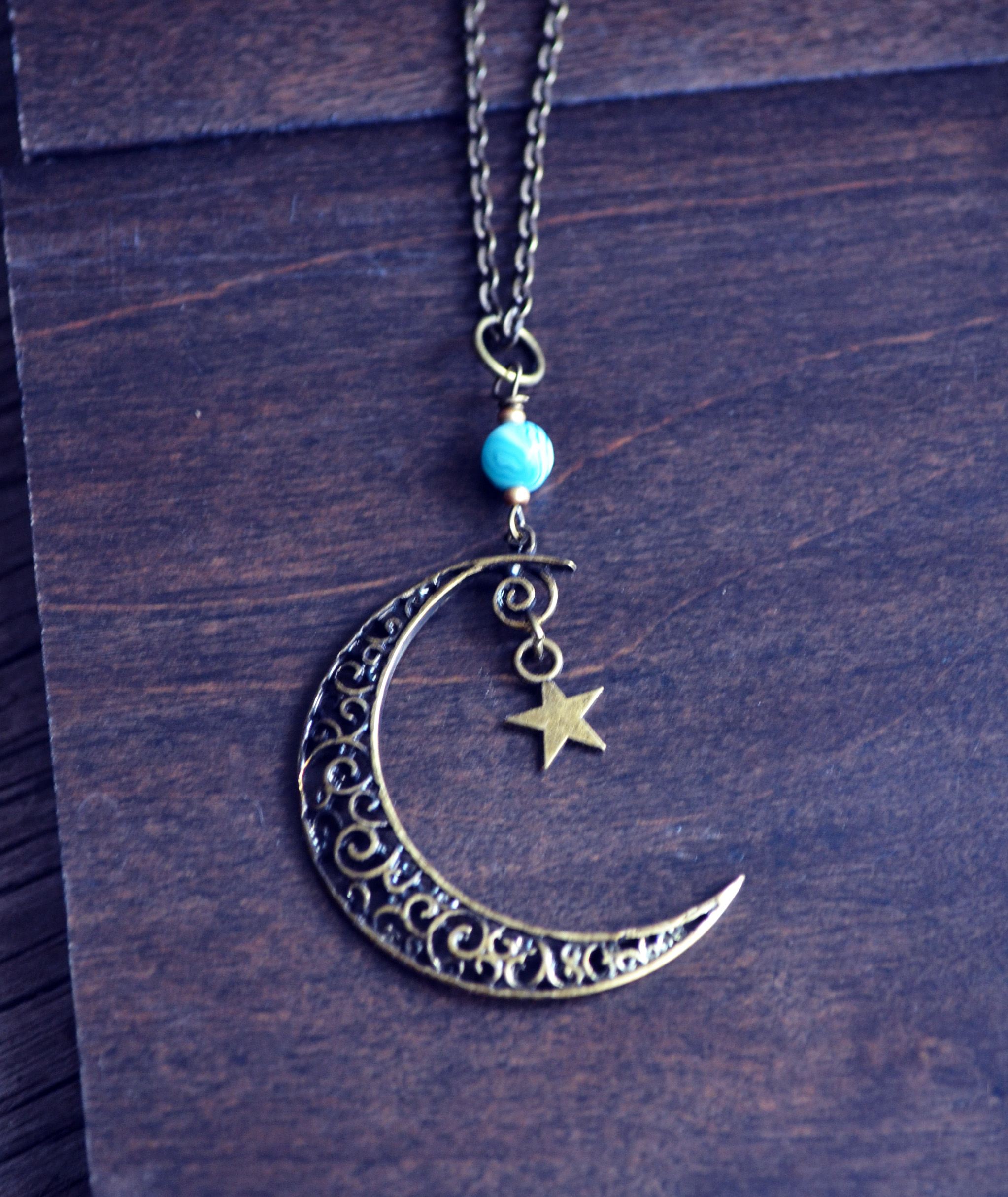 Mystical Moon Necklace, Crescent Moon and Star Necklace on ...