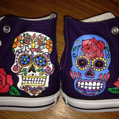 Fresh Sugar Skulls Hand Painted Custom Converse · Candy's Custom Paints  VQ51