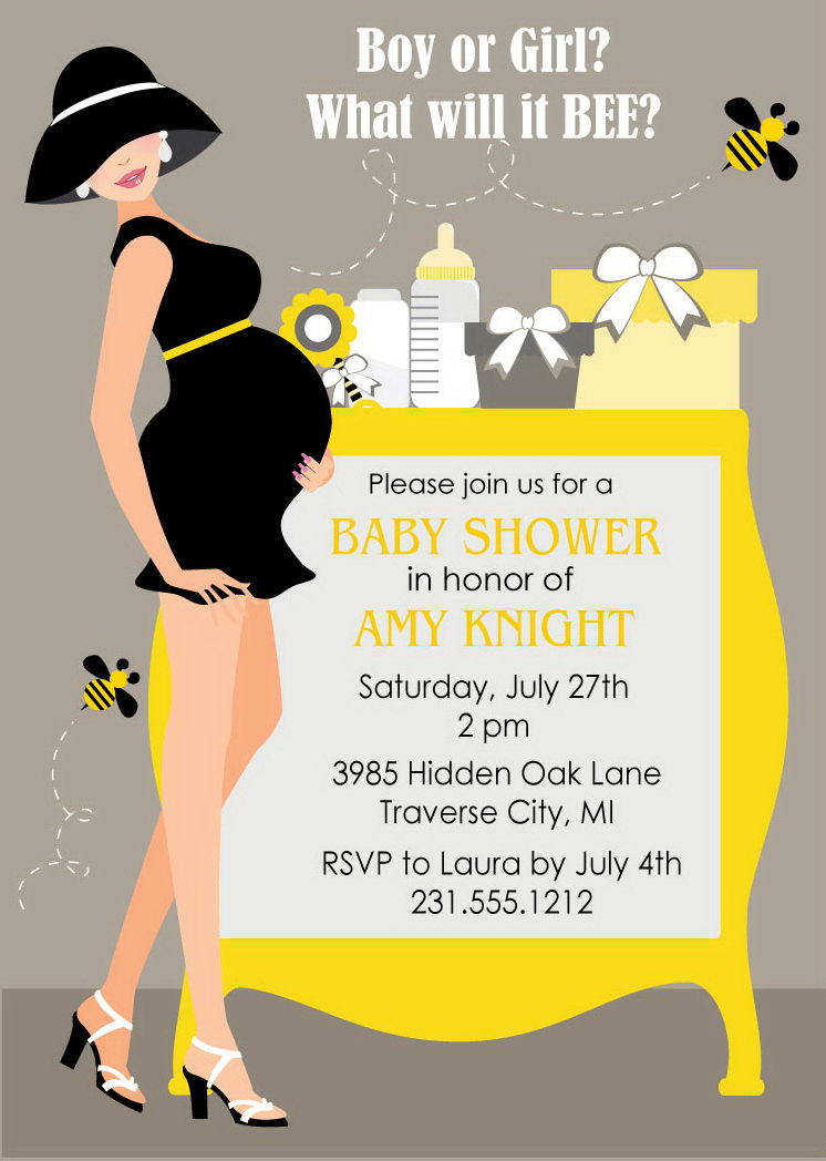 Bumble Bee Baby Shower Invitations Gender Neutral Baby