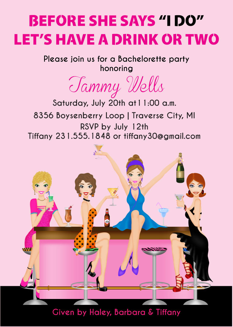 Printable Bachelorette Invitation Girls Night Out Party Invite