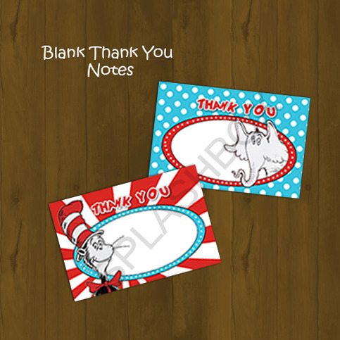 Dr Seuss Cat In The Hat Printable Thank You Notes