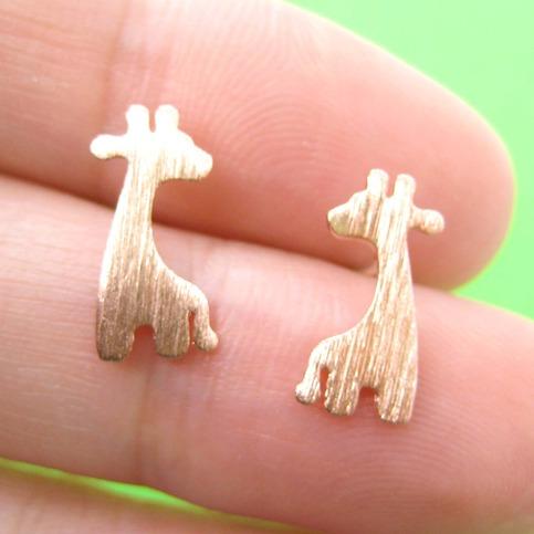 Giraffe Shape Animal Stud Earrings In Copper With Sterling