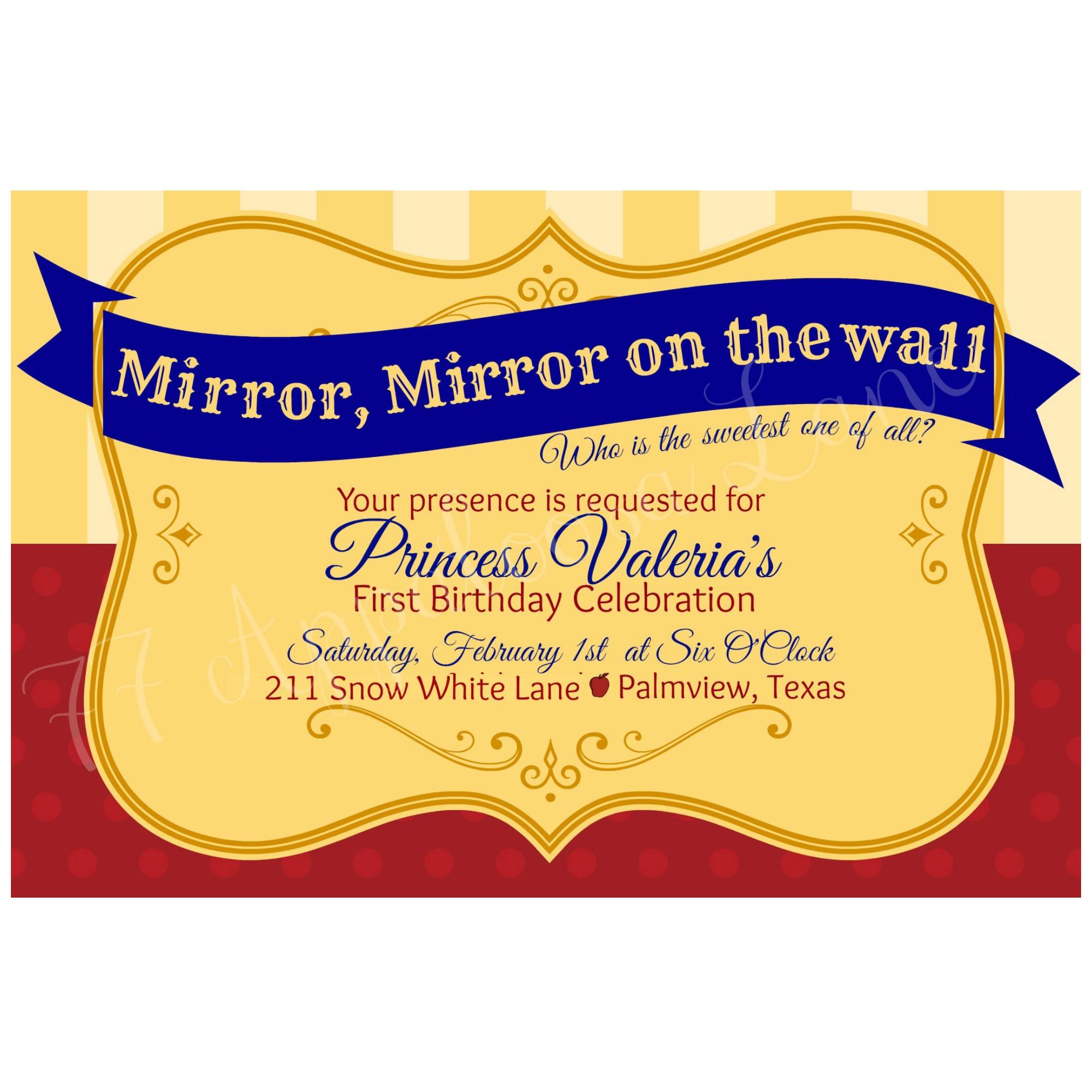 Mirror Mirror Princess Birthday Invitation From 77 Appaloosa Lane
