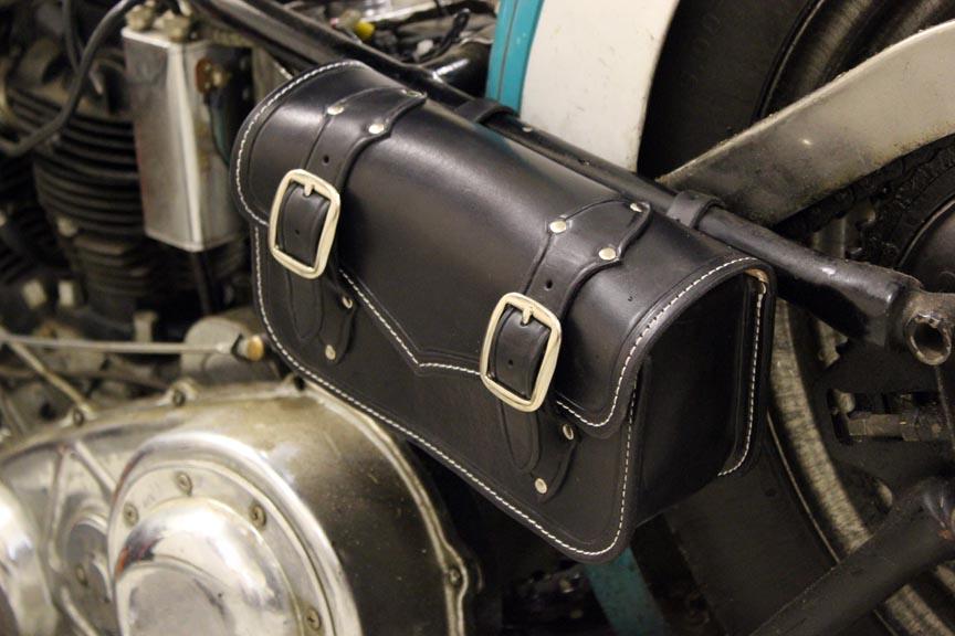 Motorcycle Tool Bag >> Custom Black Leather Motorcycle Tool Bag Small Saddle Bag