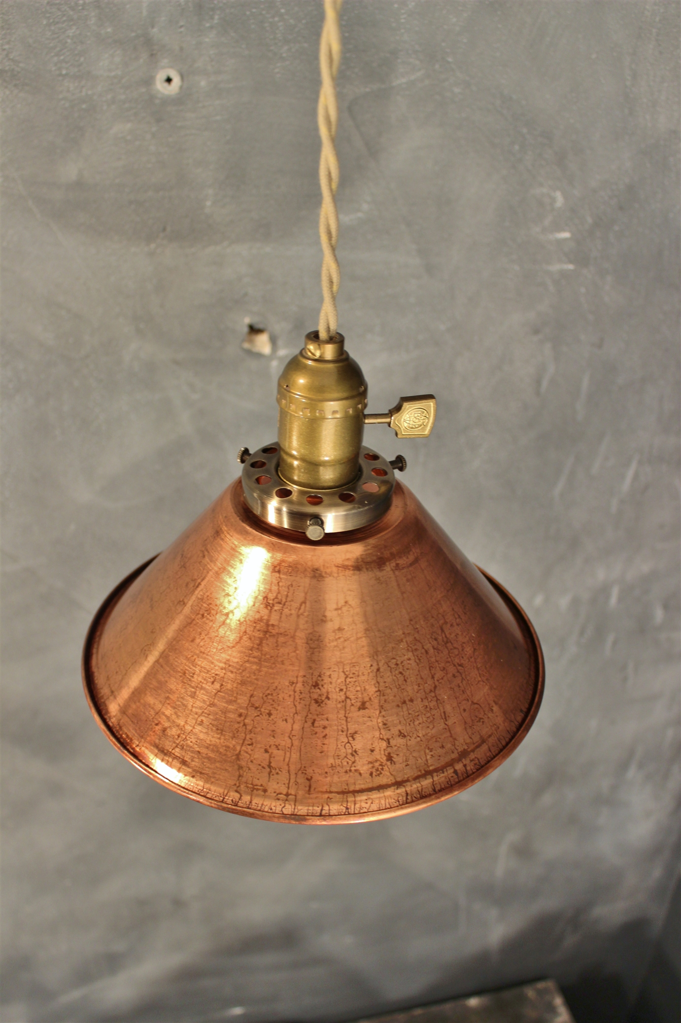 Industrial Pendant Lamp W Weathered Copper Lamp Shade