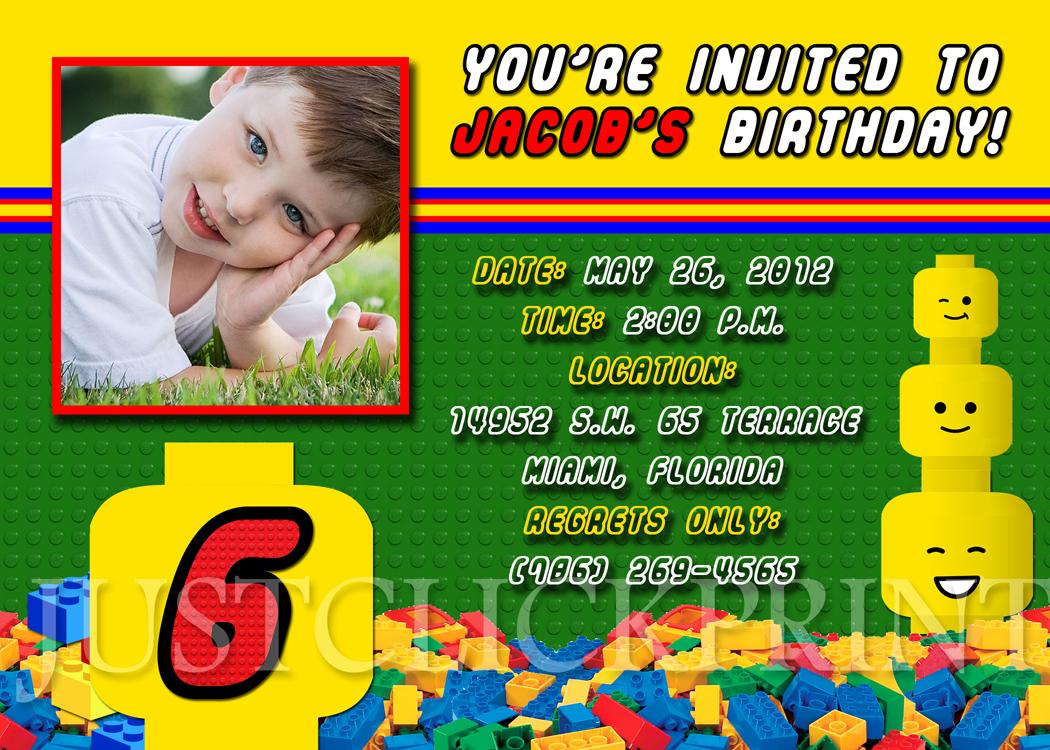Legos Blocks Birthday Photo Invitation Printable