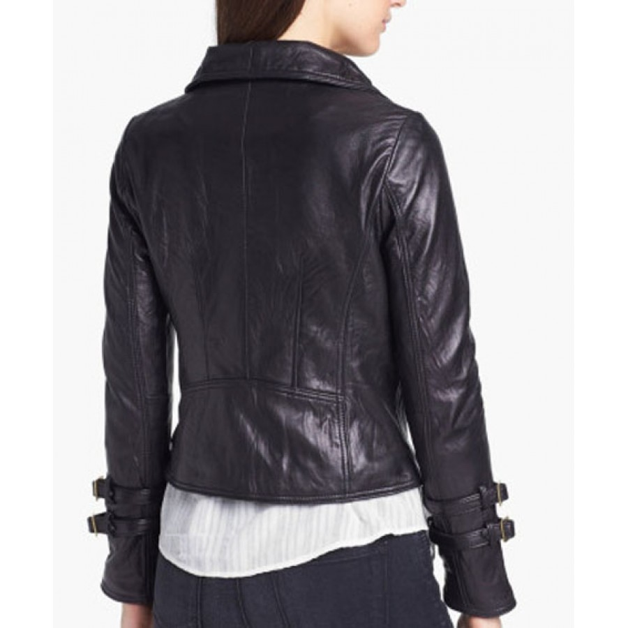 Womens Black Leather Moto Jacket Biker Jacket Women Rangoli