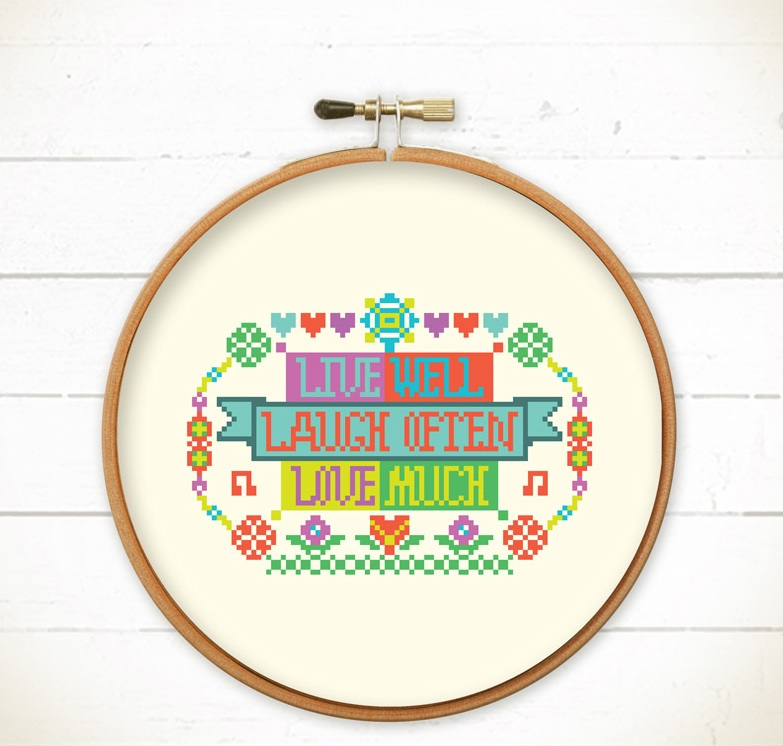Cross stitch pattern PDF - Live Well Laugh Often Love Much - Instant ...