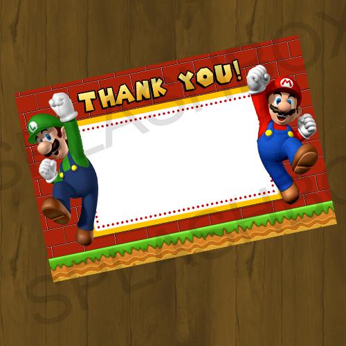 Mario Bros Birthday Printable Thank You Cards Splashbox
