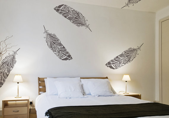 feathers wall stencil decorative scandinavian large stencil diy tribal decorative wallpaper look. Black Bedroom Furniture Sets. Home Design Ideas