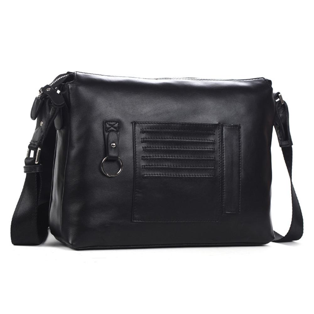 8de00e55a18e Men s Cowhide Leather Flapover Workbag City Courier Bag Messenger Crossbody  Bag 12