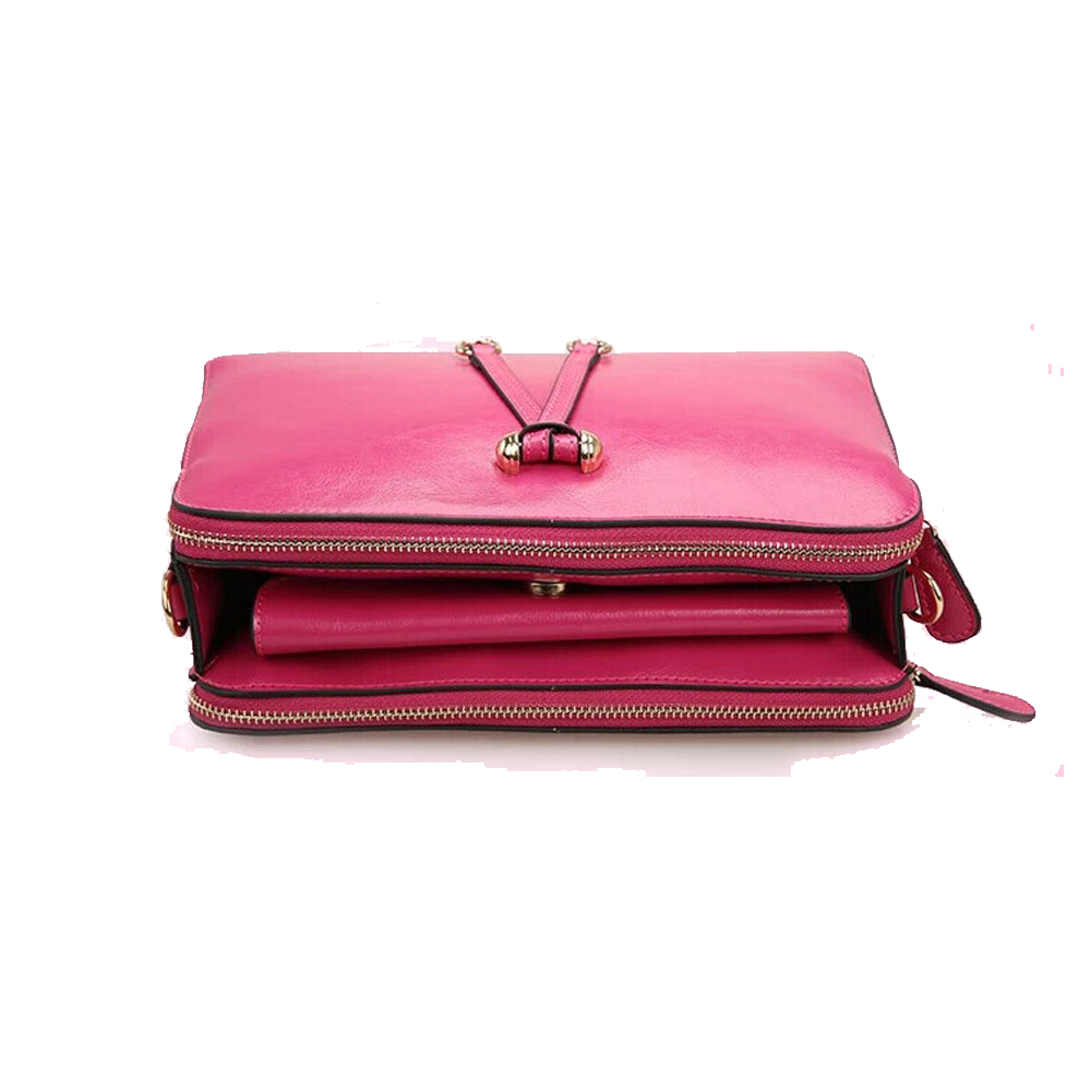 ... Women s Leather Bowknot Top Zip Mini Cross Body Bag With Triple  Compartment-Rose Pink -
