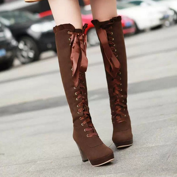 e6c00df8994 Fashion sexy bow knee high heeled boots for fall winter · Cute ...