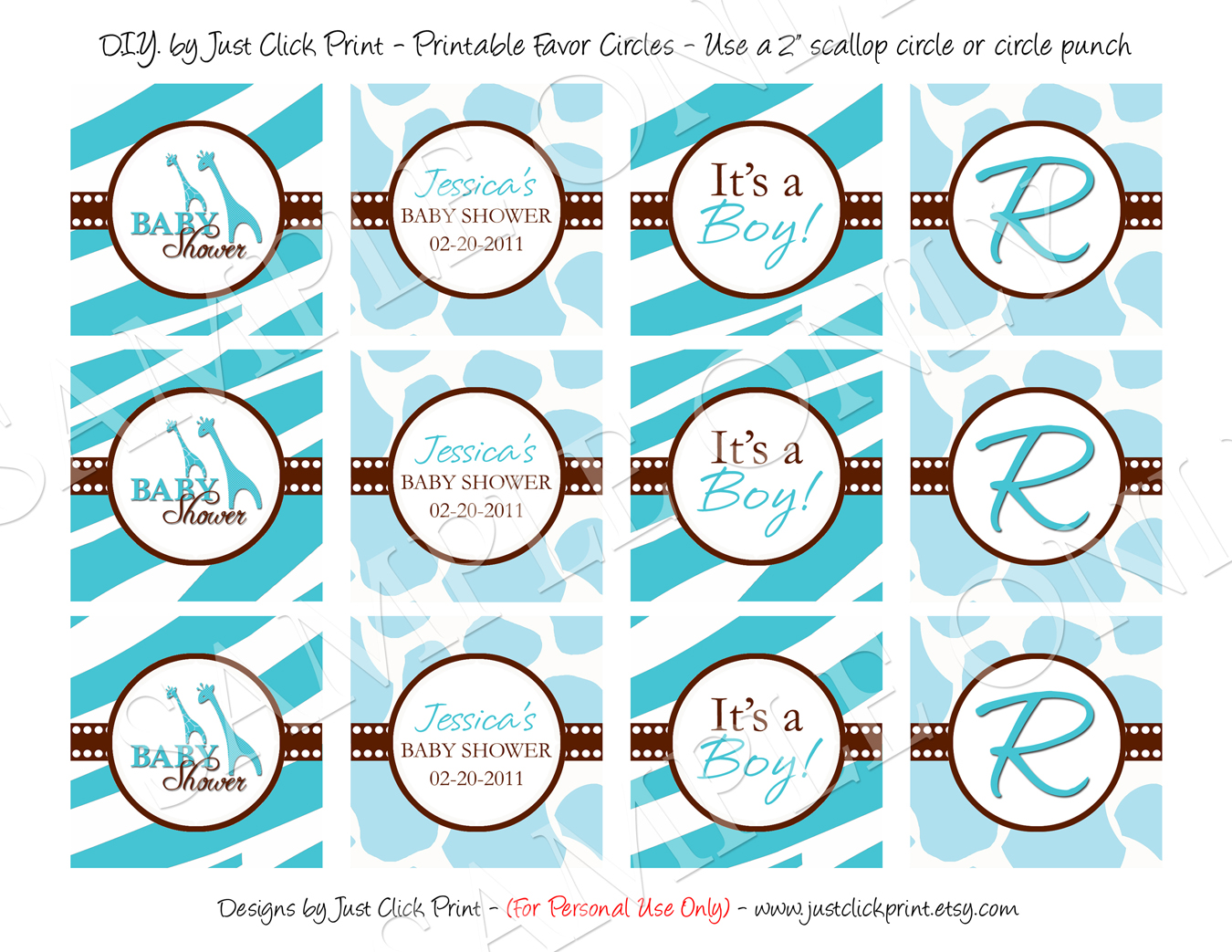 baby shower label template for favors - wild safari blue baby shower invitation printable just