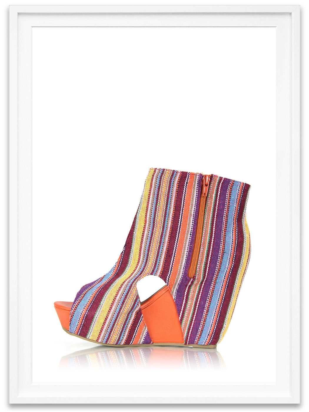 27910e0b21e ... Colorful Canvas Wedge Booties ...