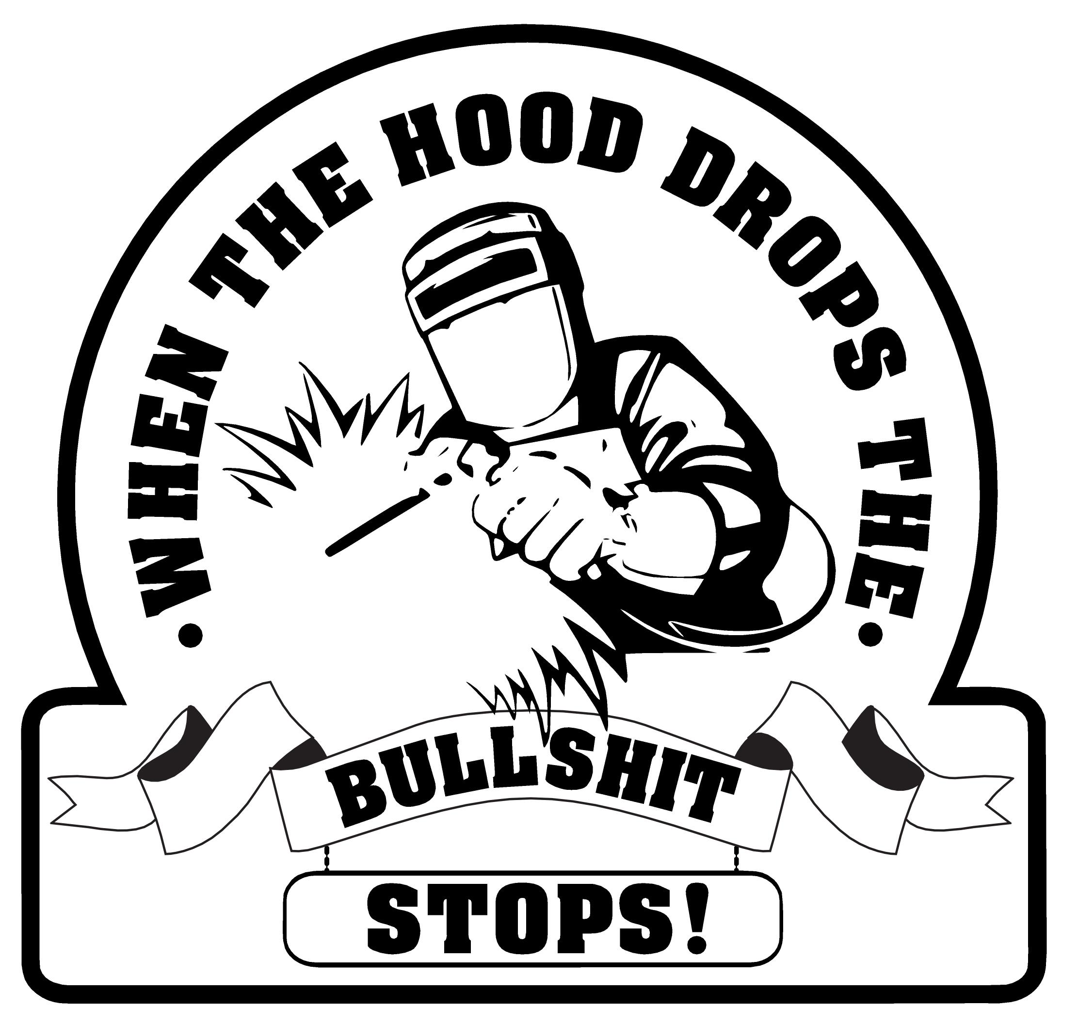 When the hood drops hard hat sticker