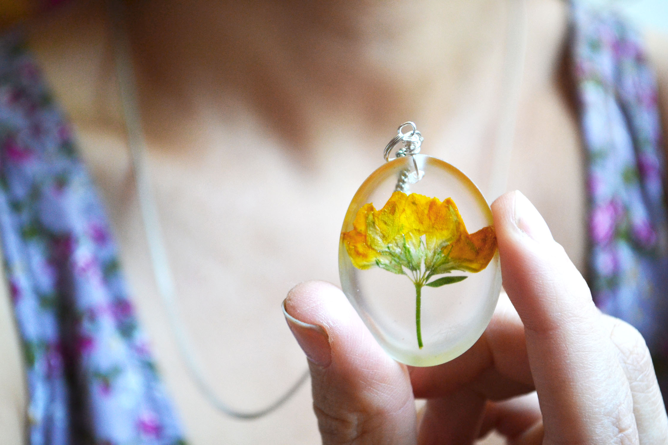 Pressed Flower Necklace Real Flowers In Clear Resin Yellow