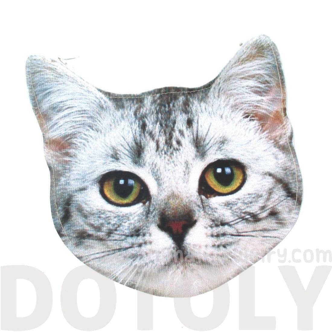 Realistic Tabby Kitty Cat Head Shaped Vinyl Animal Photo