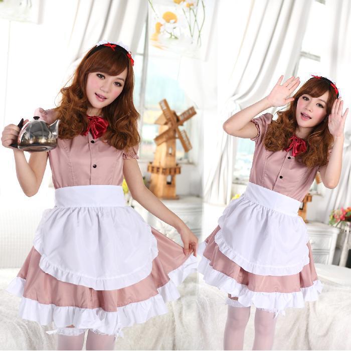Halloween Cosplay Coffee Cafe Maid Dress Khaki Free Ship ...
