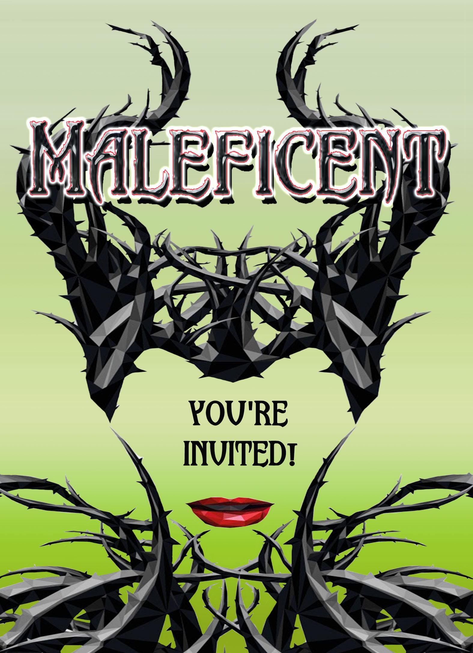 Maleficent Personalized Birthday Invitation 2 Sided Birthday Card
