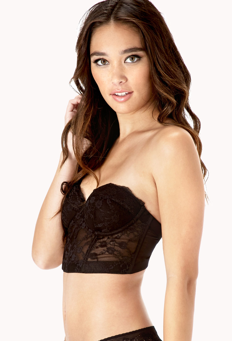 005575827 Forever 21 Strapless Lace Corset Bra in Black on Storenvy